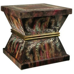 Goatskin-Effect Lacquered Hourglass End Table