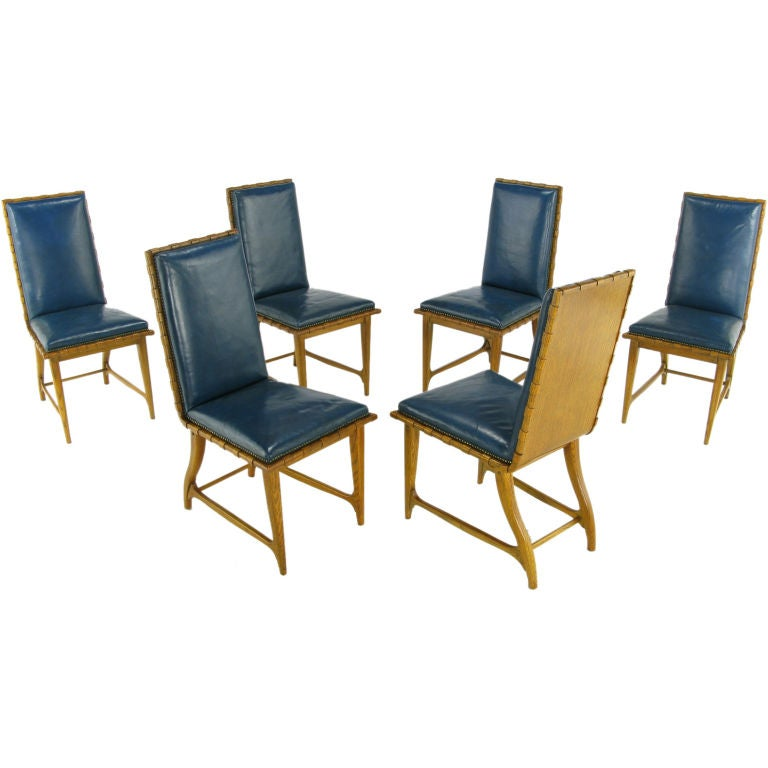 Six Romweber Carved Oak And Cadet Blue Leather Dining