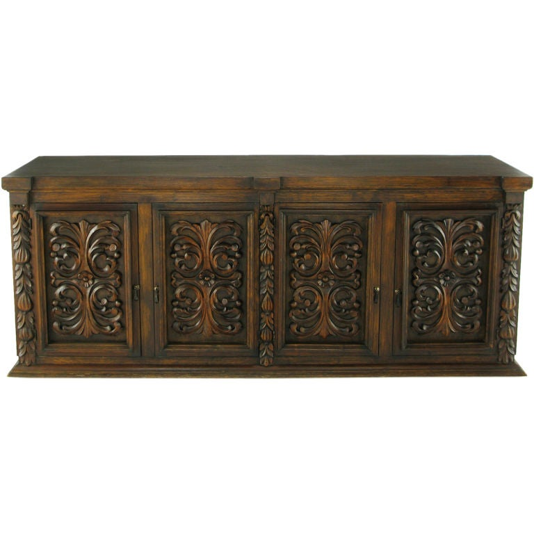 1960s mexican hand carved wood cabinet for Carved kitchen cabinets