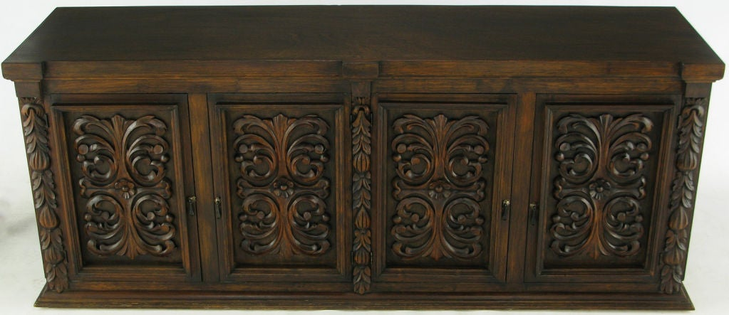 1960s Mexican Hand Carved Wood Cabinet 2