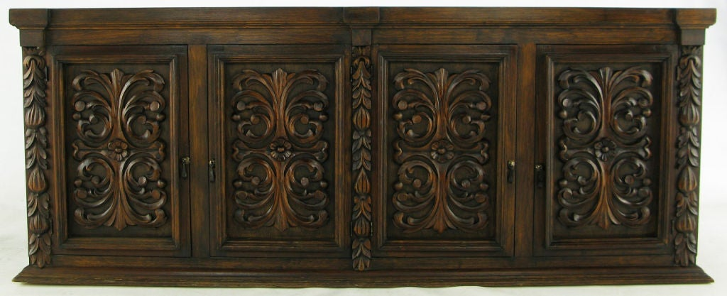 1960s Mexican Hand Carved Wood Cabinet At 1stdibs