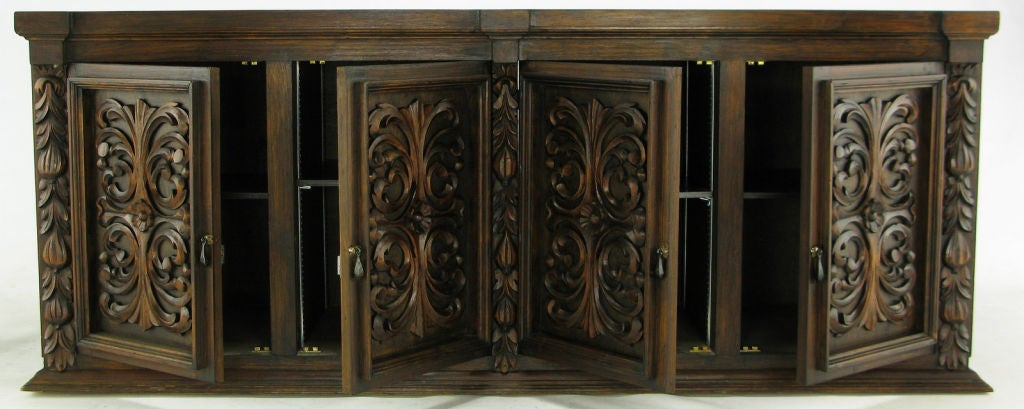 1960s Mexican Hand Carved Wood Cabinet 6