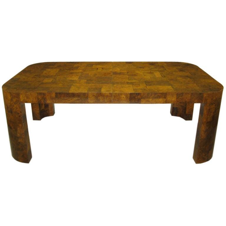 paul evans patchwork walnut burl dining table at 1stdibs. Black Bedroom Furniture Sets. Home Design Ideas