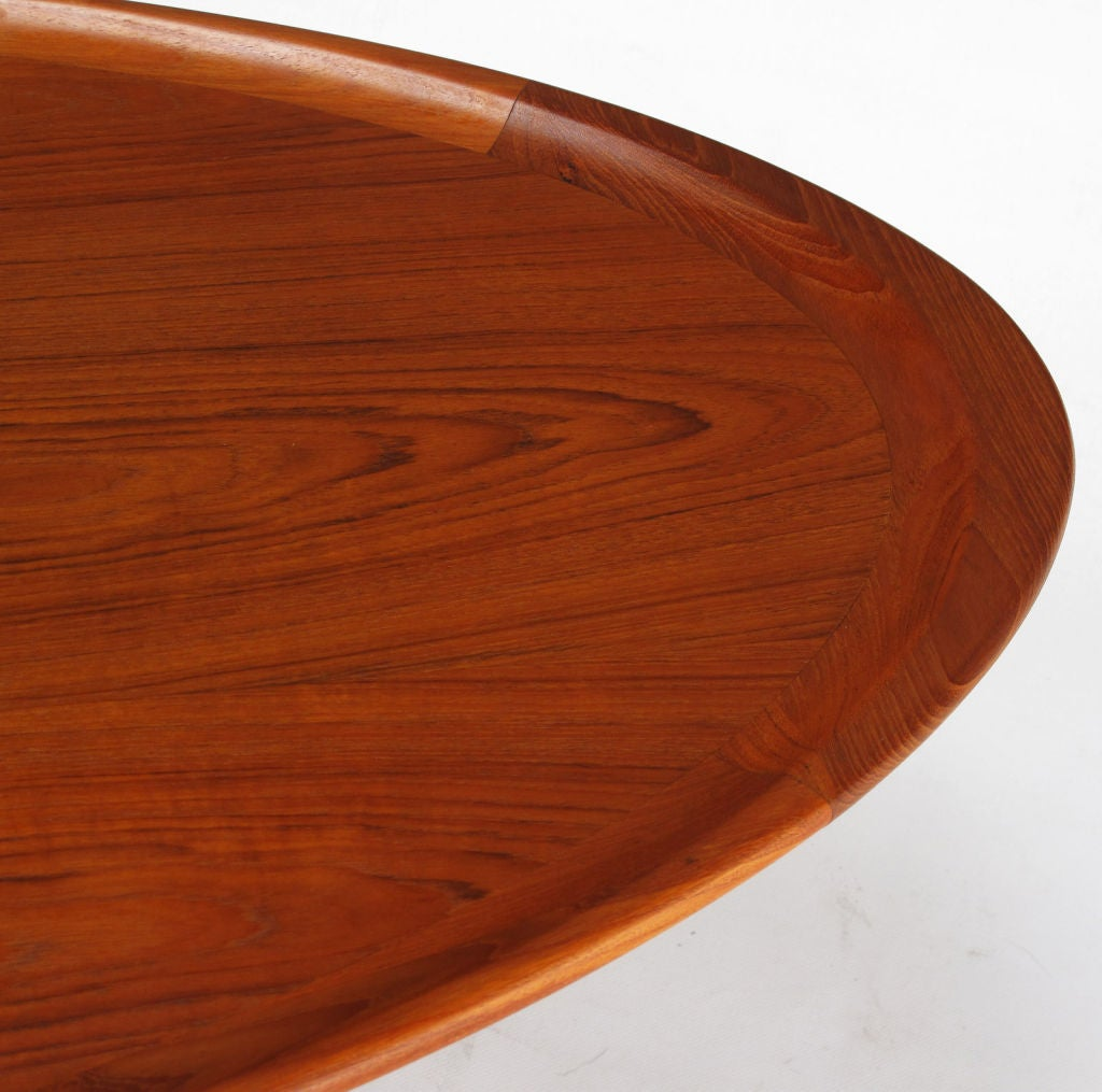 Sculpted teak wood oval tray coffee table image 4 Wood oval coffee table