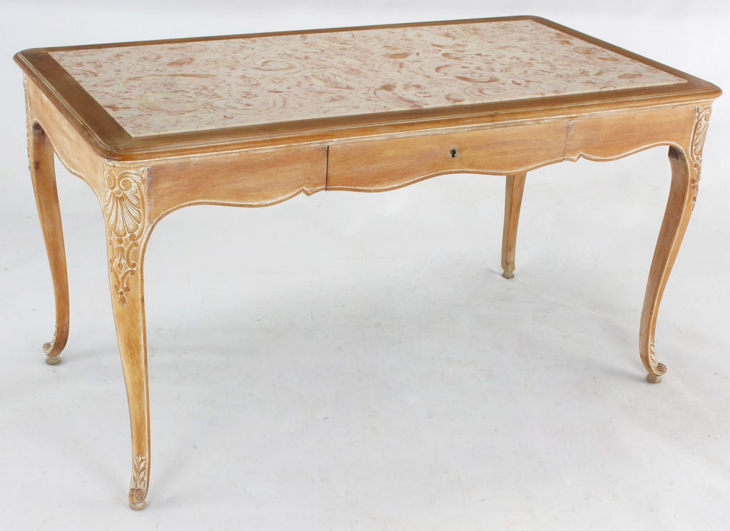 1920s Cassard Et Cie Limed Wood And Ammonite Marble