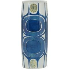 1963 Royal Copenhagen Aluminia Faience Blue & White Vase