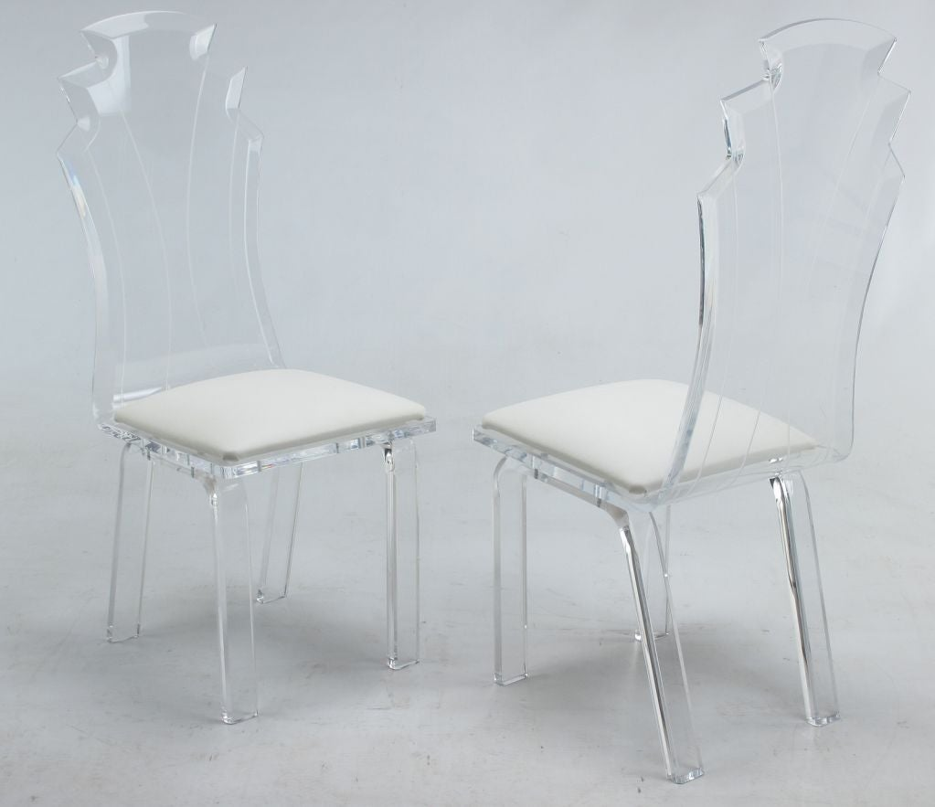 Set of six lucite dining chairs with upholstered seats at 1stdibs
