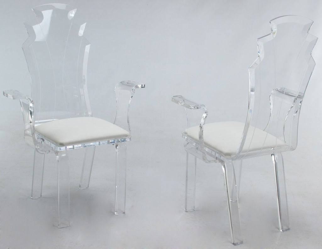 Set Of Six Lucite Dining Chairs With Upholstered Seats at  : 1216090020 from www.1stdibs.com size 1024 x 793 jpeg 42kB