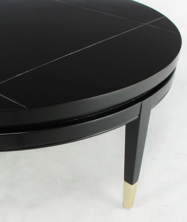 Brushed Aluminum Coffee Table: Round Black Lacquer Coffee Table With Brushed Metal Inlaid
