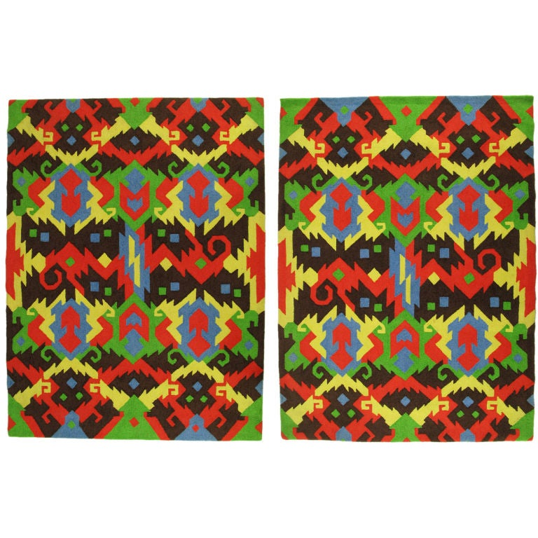Pair 1972 Edward Fields Colorful Geometric 6 X 8 Rugs At