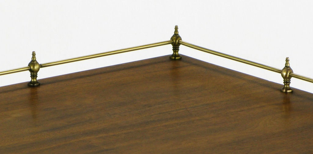Set Three Walnut Nesting Tables With Brass Gallery Rail At