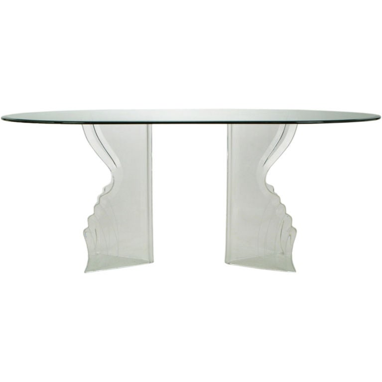 And Beveled Double Pedestal Lucite And Glass Dining Table At 1stdibs
