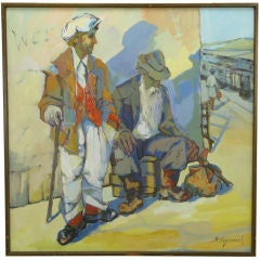 Large WPA Style Painting Of Hobos At California Train Station