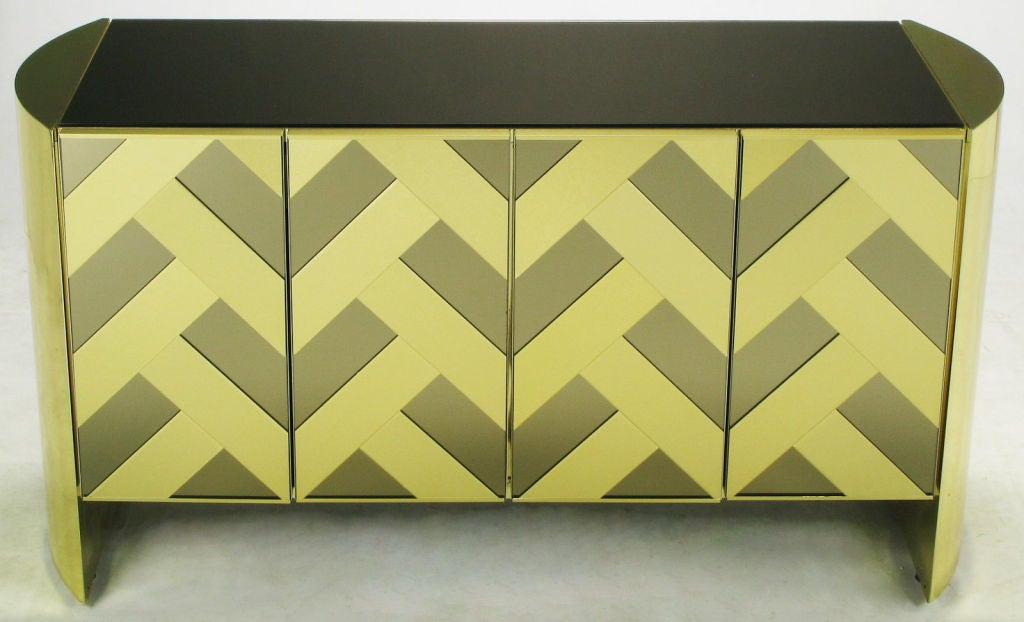 American Brass & Mirrored Cabinet With Chevron Design Doors