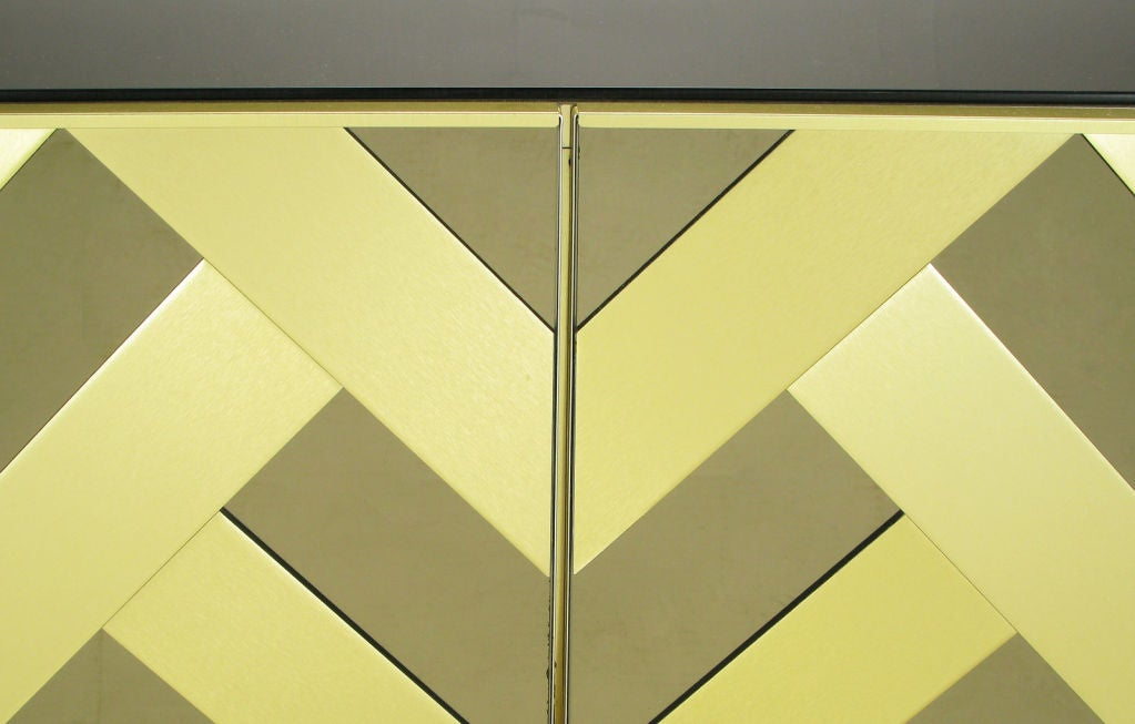 Brass & Mirrored Cabinet With Chevron Design Doors 1