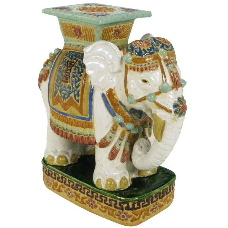 Hand Painted And Glazed Majolica Elephant Garden Table At