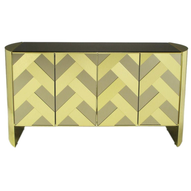 Brass & Mirrored Cabinet With Chevron Design Doors