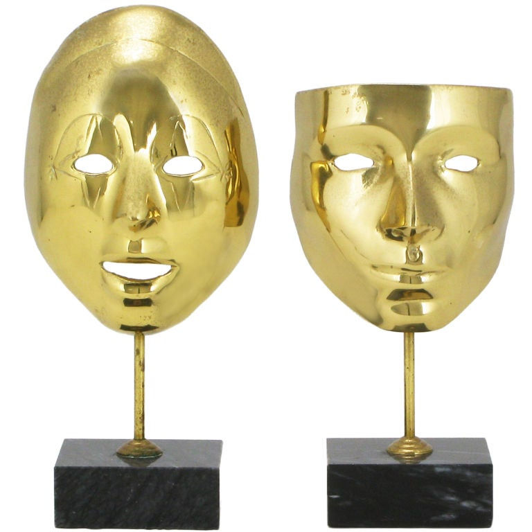 Pair Brass Carnivale Masks Mounted On Black Marble