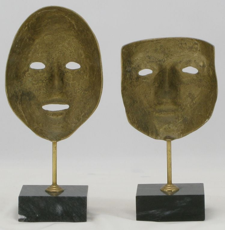Italian Pair Brass Carnivale Masks Mounted On Black Marble For Sale