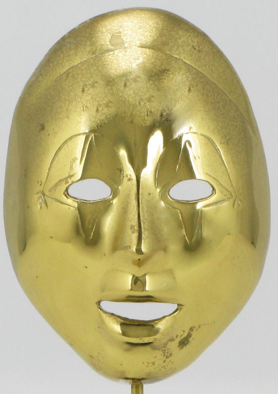 20th Century Pair Brass Carnivale Masks Mounted On Black Marble For Sale