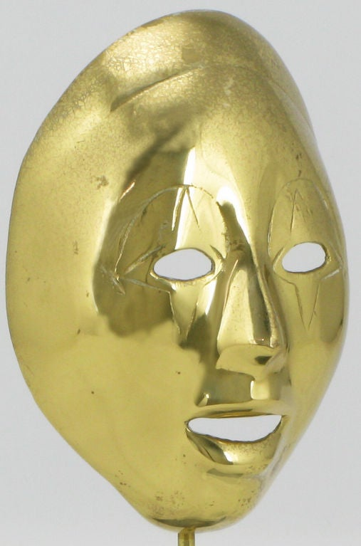 Pair Brass Carnivale Masks Mounted On Black Marble For Sale 1
