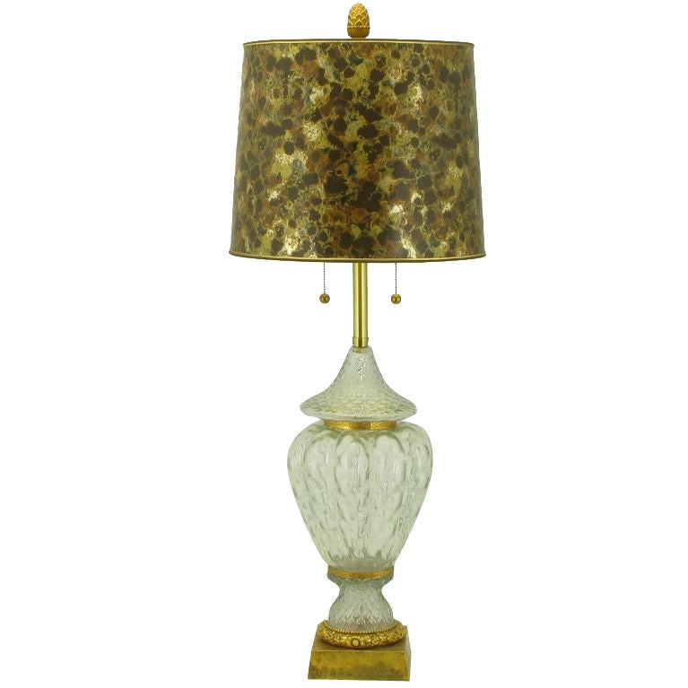 Marbro Crystal Vase Bodied Brass Trimmed Table Lamp 1