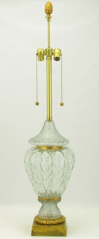Marbro Crystal Vase Bodied Brass Trimmed Table Lamp 2
