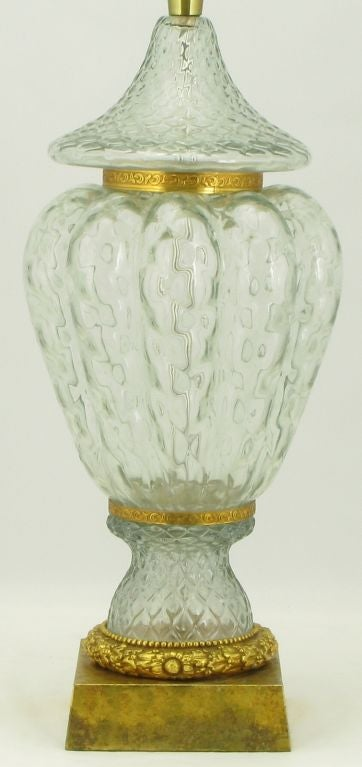 Marbro Crystal Vase Bodied Brass Trimmed Table Lamp 3