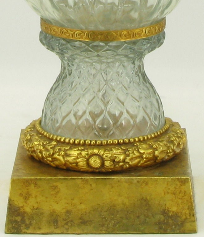 Marbro Crystal Vase Bodied Brass Trimmed Table Lamp 6