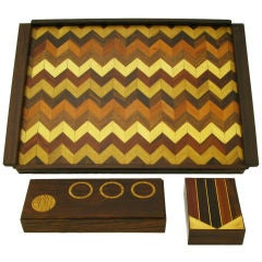 Don S. Shoemaker Rosewood Chevron Parquetry Tray With Pair Boxes