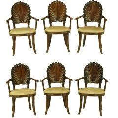 Set Six Italian Walnut Grotto Arm Chairs