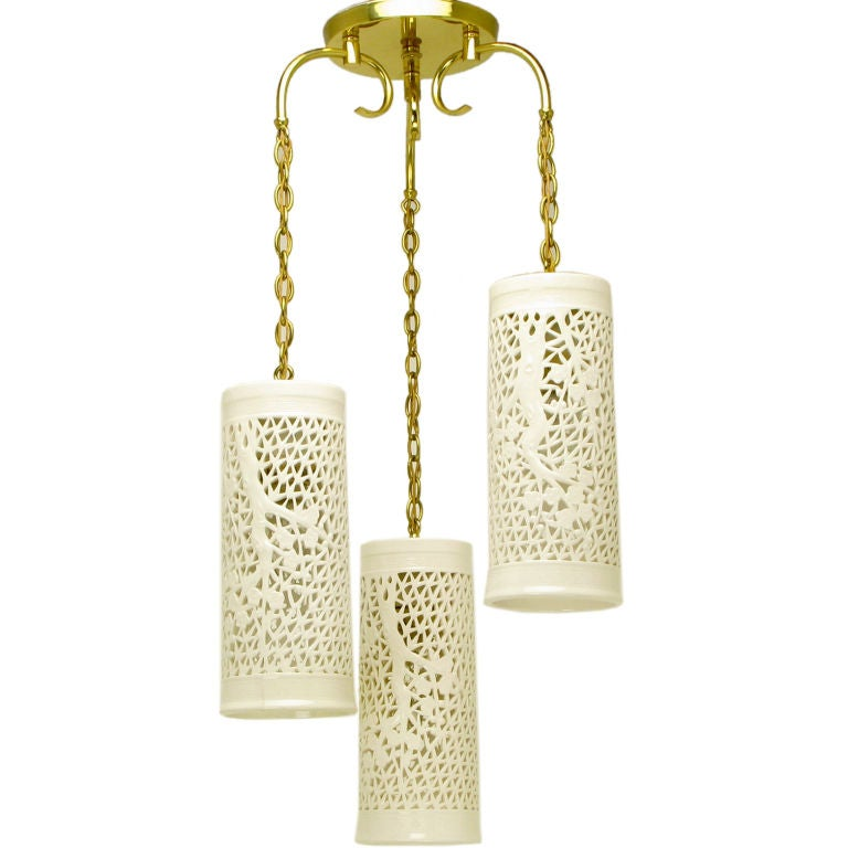 Triple Pendant Reticulated Blanc De Chine Chandelier At