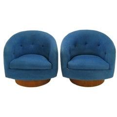 Pair  Milo Baughman Persian Blue Blue Wool Swivel Chairs
