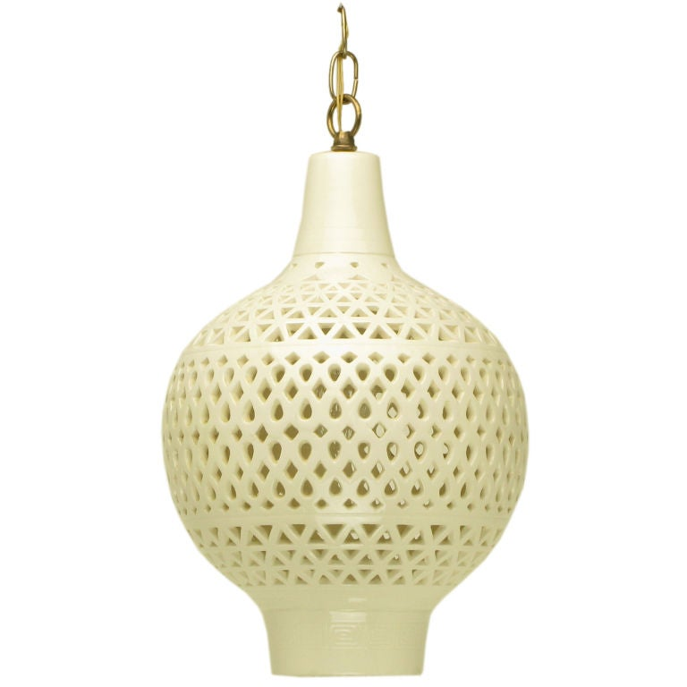 gourd form reticulated blanc de chine pendant light at