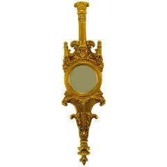 Tall Italian Rococo Gilt Carved Wood & Gesso Wall Mirror