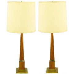 Pair Walnut Obelisk Table Lamps With Stepped Brass Plinths