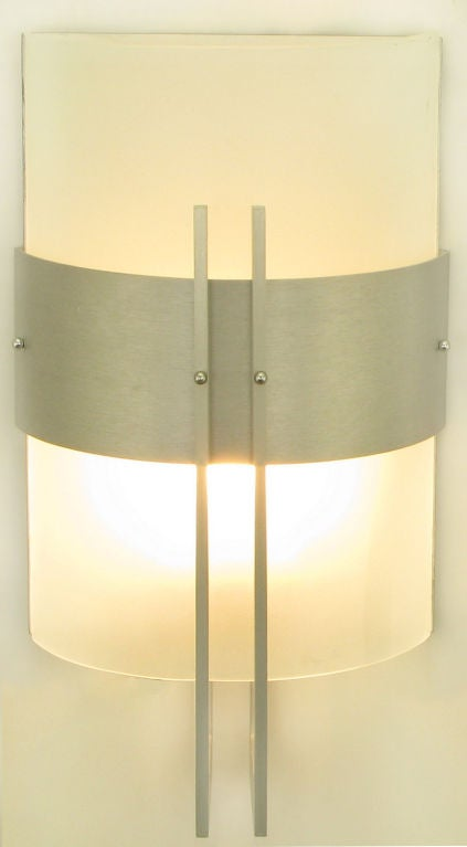 George Kovacs Brushed Metal And Curved Glass Post Modern