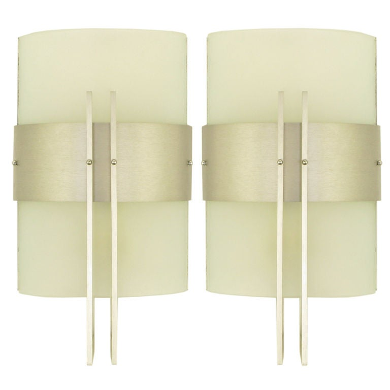 George Kovacs Brushed Metal and Curved Glass Post Modern Sconces at 1stdibs
