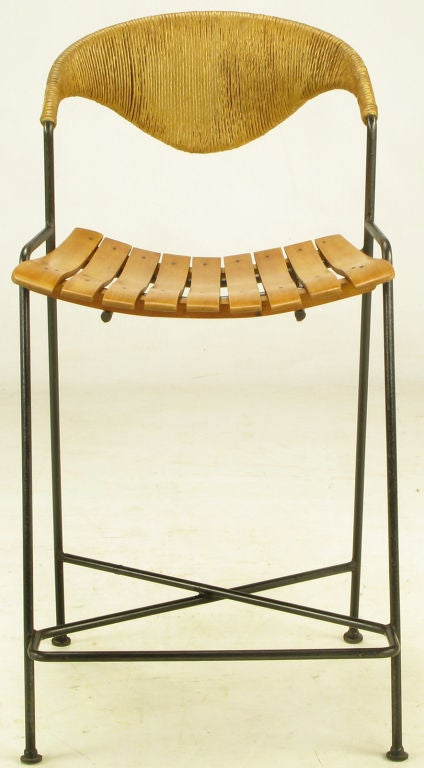 Two Arthur Umanoff Wrought Iron And Rush Bar Stools At 1stdibs