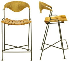 Two Arthur Umanoff Wrought Iron & Rush Bar Stools