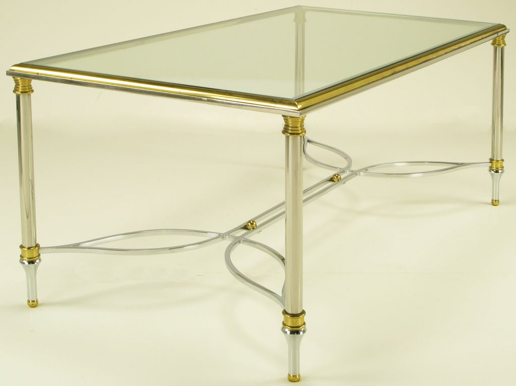 Polished Stainless And Brass Coffee Table With Glass Top At 1stdibs