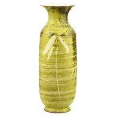 Signed Spiral Glazed Brown & Gold Foliate Studio Pottery  Vase