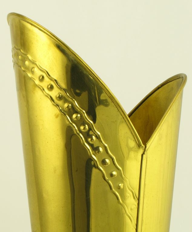 English Spurred Brass Knight's Boot Umbrella Stand 6