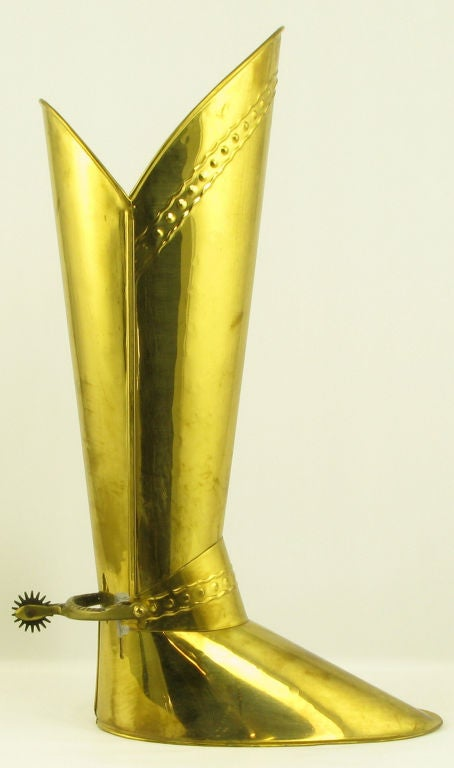English Spurred Brass Knight's Boot Umbrella Stand 2