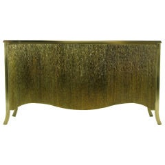 Mastercraft Grained & Patinated Brass Paneled Cabinet