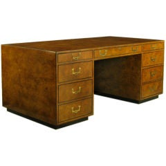 John Widdicomb Burled Walnut Executive Campaign Desk