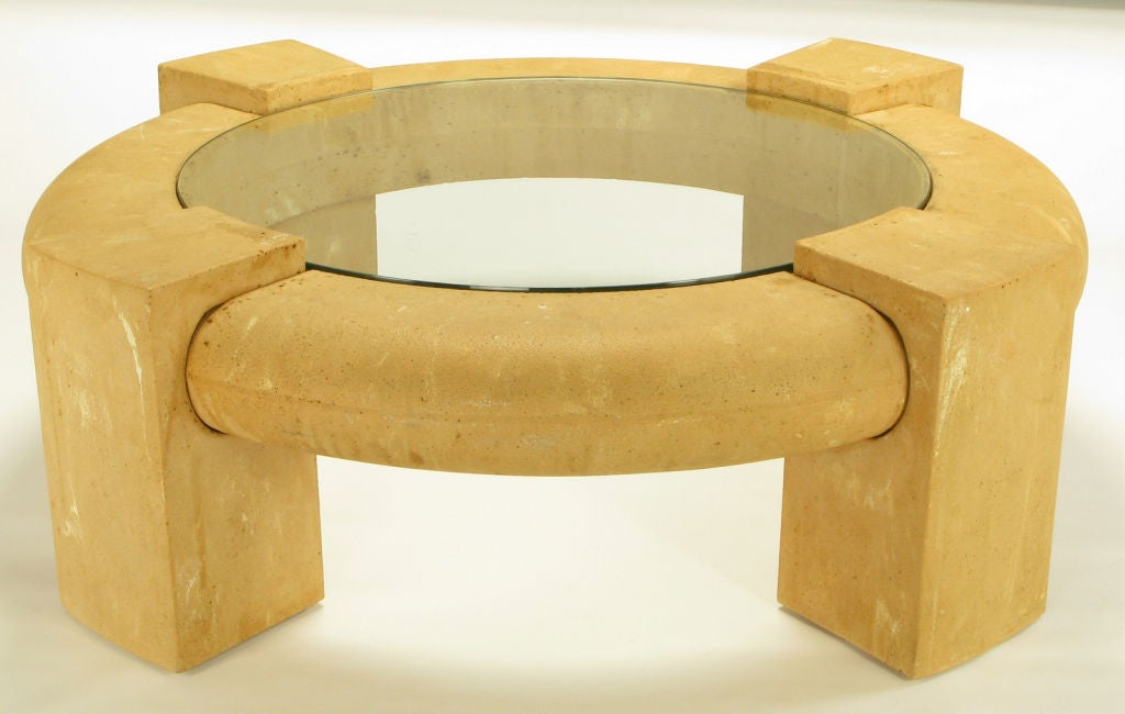 Massive Round Cast Stone And Glass Coffee Table At 1stdibs