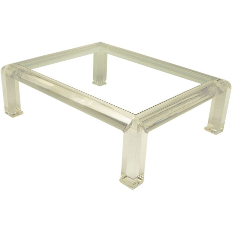 Large lucite and glass chow coffee table at 1stdibs Large glass coffee table