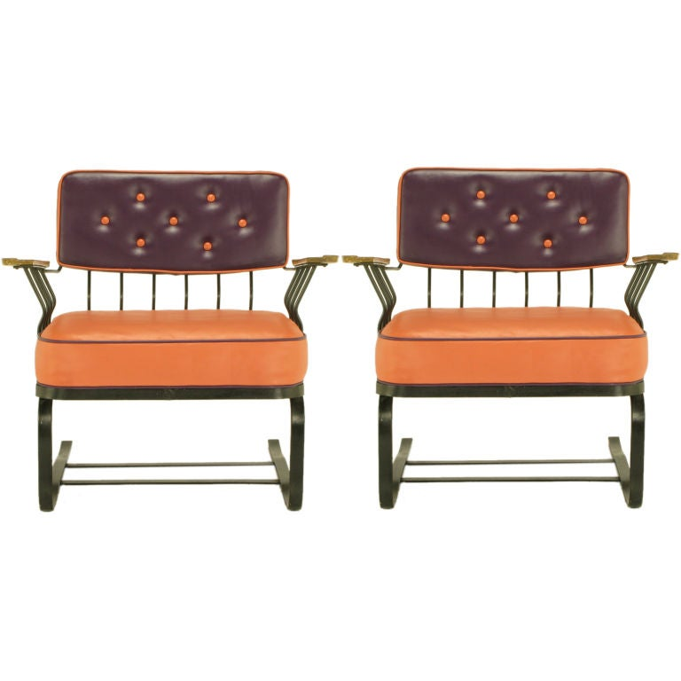 Pair Woodard Cantilevered Wrought Iron Lounge Chairs At 1stdibs