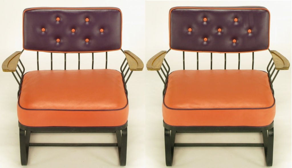 pair woodard cantilevered wrought iron lounge chairs at 1stdibs. Black Bedroom Furniture Sets. Home Design Ideas
